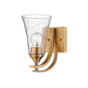 Whittier Bronze One-Light Bath Sconce with Seeded Glass
