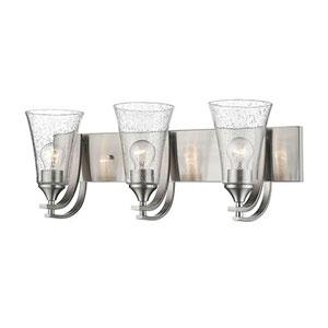 Whittier Satin Nickel Three-Light Bath Vanity with Seeded Glass