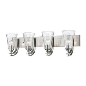 Whittier Satin Nickel Four-Light Bath Vanity with Seeded Glass