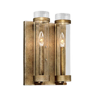 Whittier Antique Gold Two-Light Wall Sconce