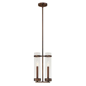 Whittier Rubbed Bronze Two-Light Mini Pendant