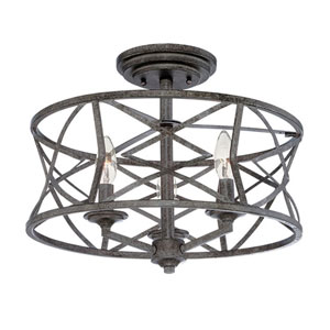 Afton Antique Silver Three-Light Semi Flush Mount