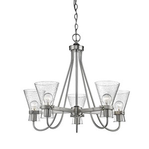 Uptown Brushed Nickel Five-Light Chandelier with Seeded Glass