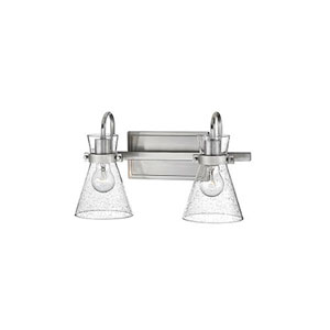 Uptown Brushed Nickel Two-Light Bath Vanity with Seeded Glass