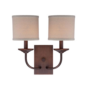 Evelyn Rubbed Bronze Two-Light Wall Sconce