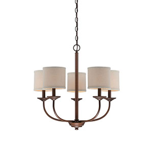 Evelyn Rubbed Bronze Five-Light Chandelier
