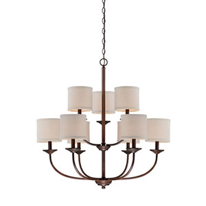 Evelyn Rubbed Bronze Nine-Light Chandelier