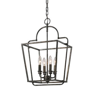 Evelyn Antique Silver Four-Light Lantern Pendant