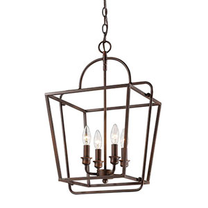 Evelyn Rubbed Bronze Four-Light Lantern Pendant