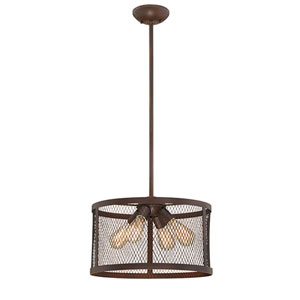 River Station Rubbed Bronze Four-Light Drum Pendant