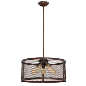 River Station Rubbed Bronze Five-Light Drum Pendant