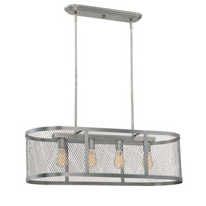 River Station Brushed Pewter Four-Light Island Pendant