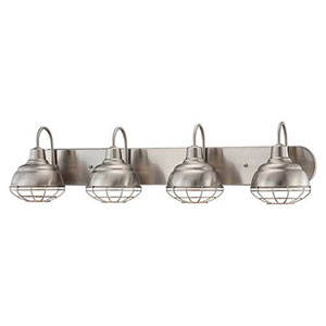 River Station Satin Nickel Four-Light Bath Vanity