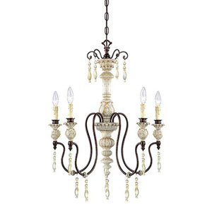 Wellington Antique White and Bronze Five-Light Chandelier