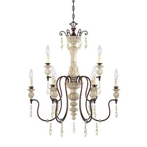Wellington Antique White and Bronze Nine-Light Chandelier