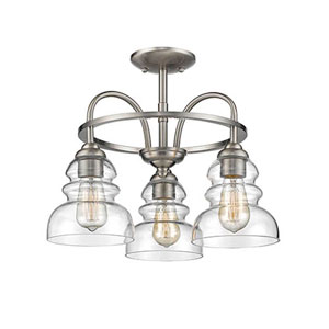 Isles Satin Nickel Three-Light Semi Flush Mount