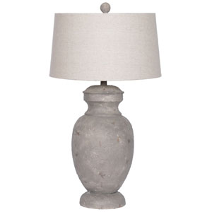 Wellington 33 In. Resin Classic Urn Table Lamp Brown with USB Port and Drum Shade