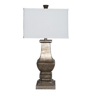Wellington 29.5 In. Aged Silver Leaf Table Lamp with Drum Shade
