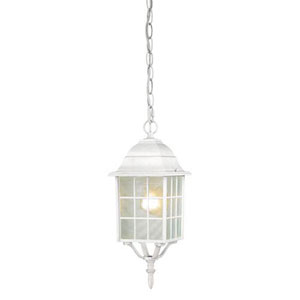 Grace White One-Light Outdoor Pendant with Frosted Glass
