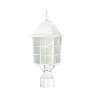 Grace White One-Light Outdoor Post Mount with Frosted Glass