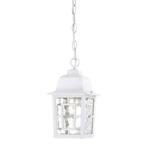 Grace White One-Light Outdoor Pendant with Water Glass