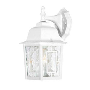 Grace White 12-Inch One-Light Outdoor Wall Sconce with Water Glass