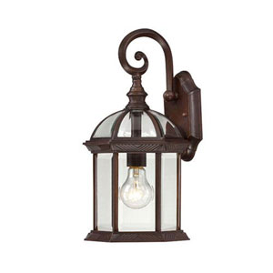 Webster Rustic Bronze 16-Inch One-Light Outdoor Wall Sconce with Beveled Glass