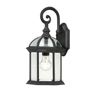 Webster Textured Black 16-Inch One-Light Outdoor Wall Sconce with Beveled Glass