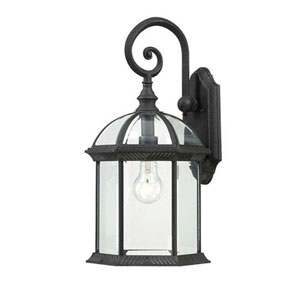 Webster Textured Black 19-Inch One-Light Outdoor Wall Sconce with Beveled Glass