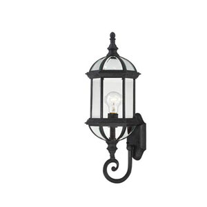 Webster Textured Black 22-Inch One-Light Outdoor Wall Sconce with Beveled Glass