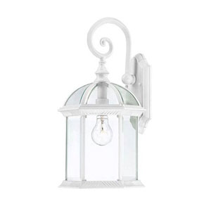 Webster White 16-Inch One-Light Outdoor Wall Sconce with Beveled Glass