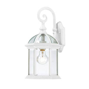 Webster White One-Light Outdoor Wall Sconce with Beveled Glass