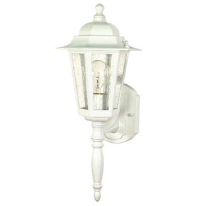 Evelyn White 18-Inch One-Light Outdoor Wall Sconce with Seeded Glass