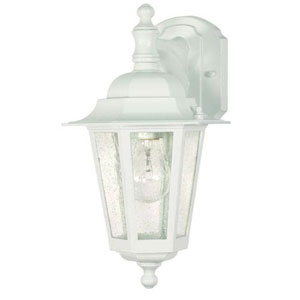 Evelyn White 13-Inch One-Light Outdoor Wall Sconce with Seeded Glass