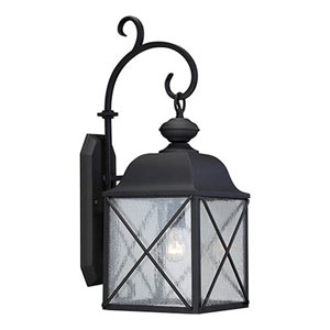 Wellington Textured Black 25-Inch One-Light Outdoor Wall Sconce with Seeded Glass