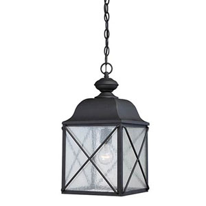 Wellington Textured Black One-Light Outdoor Pendant