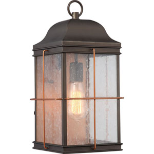 Afton Bronze and Copper 17-Inch One-Light Outdoor Wall Sconce