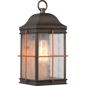 Afton Bronze and Copper 14-Inch One-Light Outdoor Wall Sconce