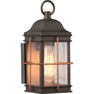 Afton Bronze and Copper 11-Inch One-Light Outdoor Wall Sconce