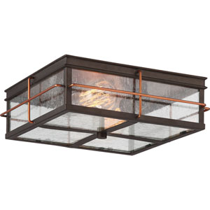 Afton Bronze and Copper Two-Light Outdoor Flush Mount