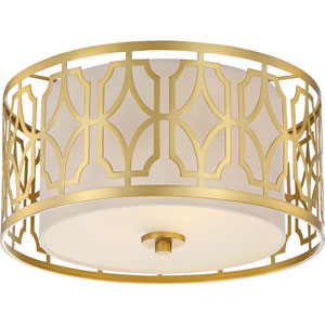 Whittier Natural Brass 15-Inch Two-Light Flush Mount