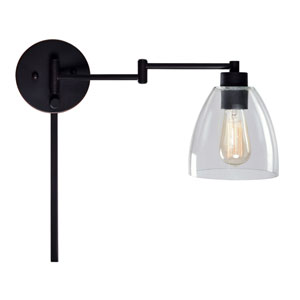 Kenwood Oil Rubbed Bronze One-Light Swing Arm Wall Sconce with Clear Glass