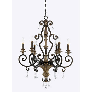 Wellington Bronze 28-Inch Six-Light Chandelier