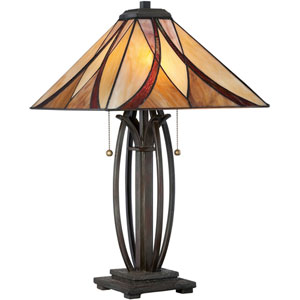 Wellington Bronze Two-Light Table Lamp with Tiffany Glass