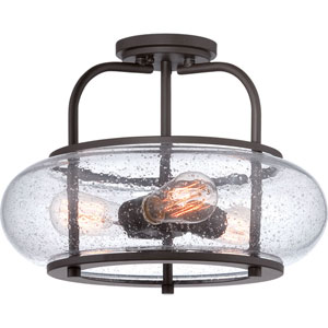 Afton Old Bronze Three-Light Semi Flush Mount