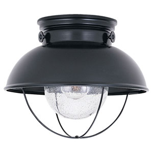 River Station Black One-Light Outdoor Flush Mount