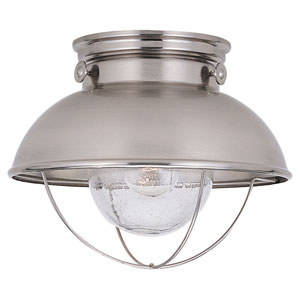 River Station Brushed Stainless One-Light Outdoor Flush Mount