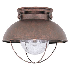 River Station Copper One-Light Outdoor Flush Mount