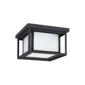 Uptown Black 10-Inch Two-Light Outdoor Flush Mount with Etched Glass