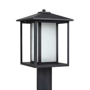 Uptown Black 15-Inch One-Light Outdoor Post Mount with Etched Glass
